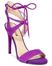 Guess | Pink Christa Two-piece Lace-up Dress Sandals | Lyst