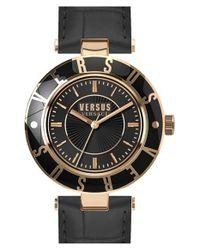 Versus Black Logo Leather Strap Watch