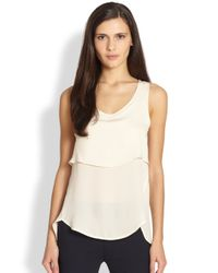 Theory - White Apala Silk Tiered Tank - Lyst