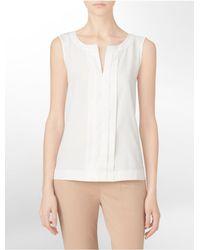 Calvin Klein - White Label Pleated Sleeveless Top - Lyst