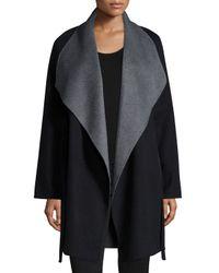 Neiman Marcus - Black Cashmere Double-face Two-tone Wrap Coat - Lyst