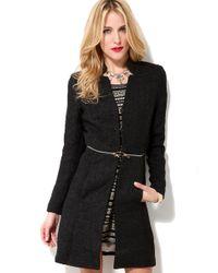 Glamorous - Black Glamourous Mid Zip Tweed Jacket - Lyst