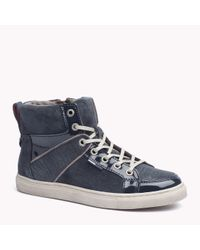 Tommy Hilfiger - Blue Leather Mix High Top Sneaker - Lyst
