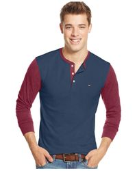 Tommy Hilfiger | Blue Long-sleeve Colorblocked Henley Shirt for Men | Lyst