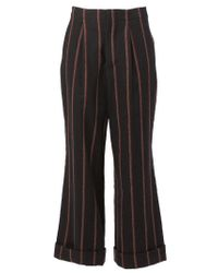 Uma Wang - Black Striped Wide Leg Trousers - Lyst