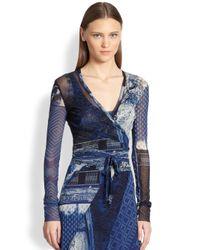 Jean Paul Gaultier | Blue Patchworkprint Wrap Cardigan | Lyst
