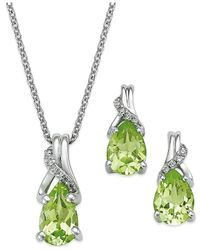 Macy's - Green Peridot (2-1/5 Ct. T.w.) And Diamond Jewelry Set In Sterling Silver - Lyst