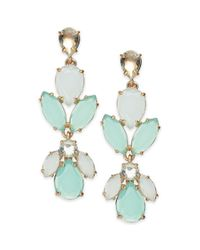 kate spade new york - Metallic New York Goldtone Mint Stone Statement Earrings - Lyst