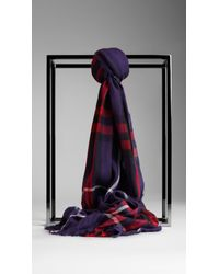 Burberry | Blue Check Wool Cashmere Crinkled Scarf for Men | Lyst