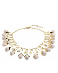 Lele Sadoughi | Metallic Modern Garden Blooming Bud Howlite And 14k Gold Brass Necklace | Lyst