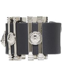 Versus | Black And Silver Leather Cuff Bracelet | Lyst