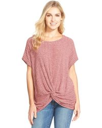 Pleione | Red Twist Front Rib Knit Top | Lyst