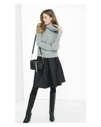 Express - Gray Marl Cowl Neck Cable Knit Sweater - Lyst