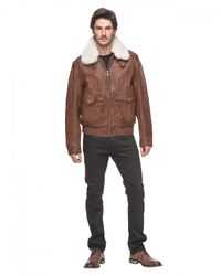 Andrew Marc | Brown Corsham Leather and Shearling Flight Jacket  for Men | Lyst