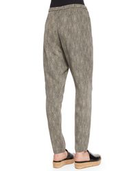 Eileen Fisher - Gray Silk Chainette-print Slouchy Pants - Lyst
