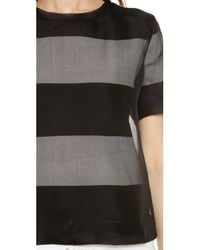 T By Alexander Wang | Gray Organza Overlay Striped Knit Tee | Lyst