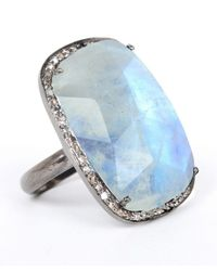 Adornia - Blue Gemstone And Champagne Diamond Charles Ring - Lyst