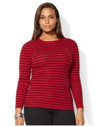Lauren by Ralph Lauren - Red Plus Size Long-Sleeve Striped Top - Lyst
