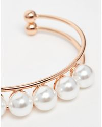 ASOS | Metallic Faux Pearl And Ball Cuff Bracelet | Lyst