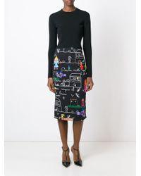 Dolce & Gabbana - Black Drawings Print Pencil Skirt - Lyst