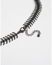 ASOS - Chain Interest Necklace In Black Fishbone for Men - Lyst