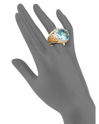 John Hardy | Bamboo Blue Topaz, White Sapphire & 18k Yellow Gold Ring | Lyst