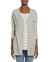 Lush | Gray Button Front Knit Tunic | Lyst