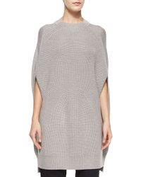 McQ - Brown Crewneck Multi-gauge Wool Cape - Lyst