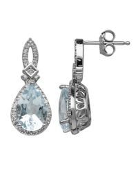 Lord & Taylor | 14kt. White Gold Diamond And Blue Topaz Earrings | Lyst