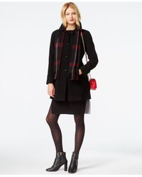 London Fog - Red Petite Peacoat With Plaid Scarf - Lyst