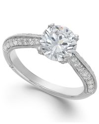 Marchesa - Metallic Classic By Certified Diamond Engagement Ring In 18k White Gold (1-3/8 Ct. T.w.) - Lyst