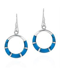 Aeravida | Blue Chic Open Circle Turquoise Inlay .925 Silver Dangle Earrings | Lyst