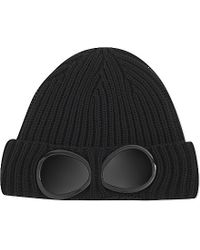C P Company | Black Goggle Ribbed Beanie - For Men for Men | Lyst