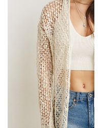 Forever 21 - Natural Open Knit Longline Cardigan - Lyst