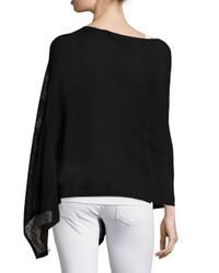 Eileen Fisher | Black Washable Wool-stitch Poncho | Lyst