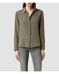 AllSaints - Brown Rivet Shirt - Lyst
