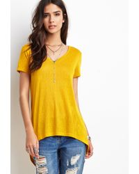 Forever 21 | Yellow Dropped Hem Slub Tee | Lyst