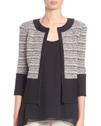 St. John - Black Three-quarter Sleeve Boucle Knit Jacket - Lyst