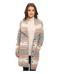 Pendleton - Gray Petite Stripe Sweater Coat - Lyst