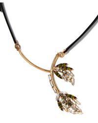 Marni | Metallic Green Crystal Flower Leather Tie Necklace | Lyst