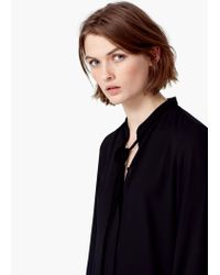 Mango - Black Bow Neck Shirt - Lyst
