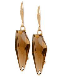 Robert Lee Morris | Metallic Bronze-tone Faceted Stone Drop Earrings | Lyst