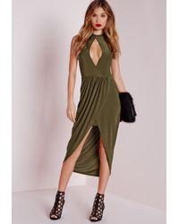 Missguided - Natural Keyhole Draped Midi Dress Khaki - Lyst