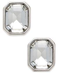 Charter Club - Metallic Silver-tone Crystal Stud Earrings - Lyst