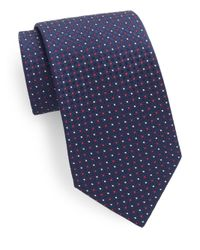 Saks Fifth Avenue | Blue Silk Neat-pattern Tie for Men | Lyst