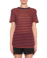 T By Alexander Wang | Blue Striped Crew-Neck T-Shirt | Lyst