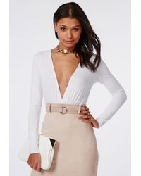 Missguided - Long Sleeve Plunge Gather Front Bodysuit White - Lyst