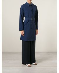 Aspesi - Blue Belted Trench Coat - Lyst