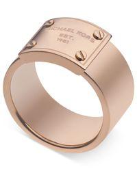 Michael Kors | Metallic Rose Gold-Tone Logo Plate Ring | Lyst