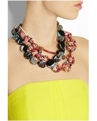 Etro - Orange Printed Silk and Bead Necklace - Lyst